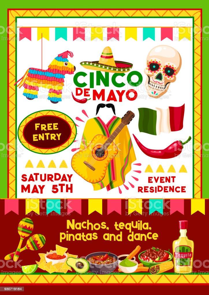 Cartão de convite de festa mexicana Cinco de Mayo vector ilustração de  cartão de convite de 035e71399c1