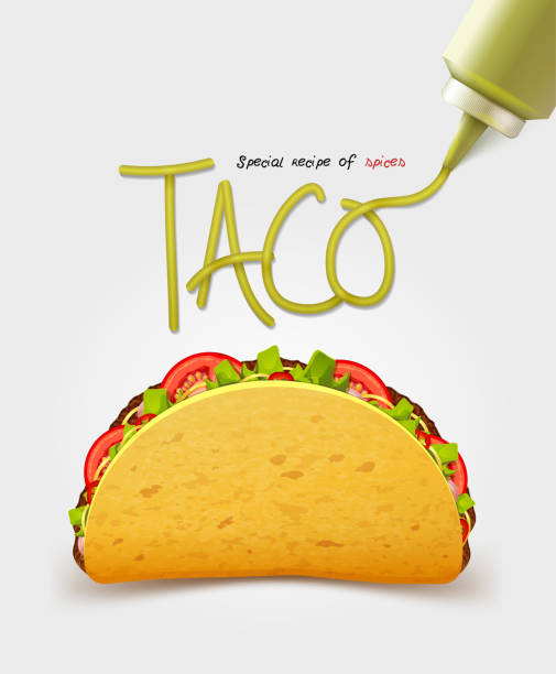 vector mexican taco with meat. realistic inscription sauce. isolated - taco stock illustrations, clip art, cartoons, & icons
