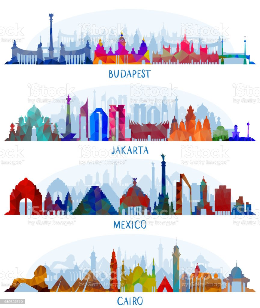 vector Mexico, Budapest, Jakarta and Cairo vector art illustration