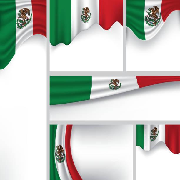 ilustraciones, imágenes clip art, dibujos animados e iconos de stock de vector bandera de méxico, colores mexicanos (arte vectorial) - bandera mexicana