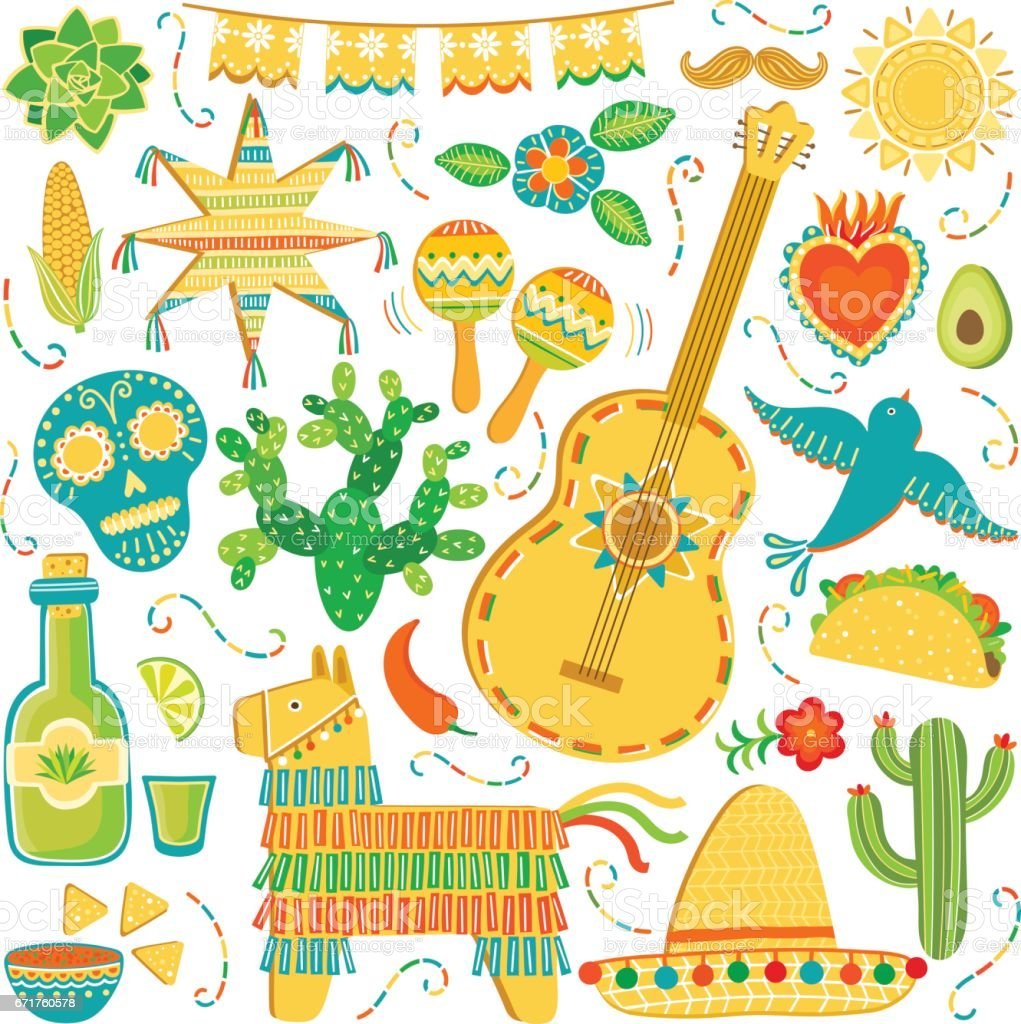 Vector Mexico icon set. Mexican illustration isolated on white vector art illustration