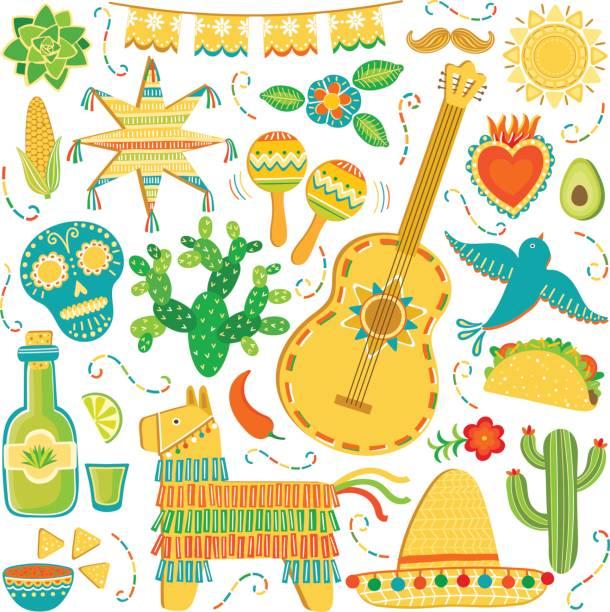 Vecteur de jeu d'icônes de Mexico. Mexicaine illustration isolé sur blanc - Illustration vectorielle