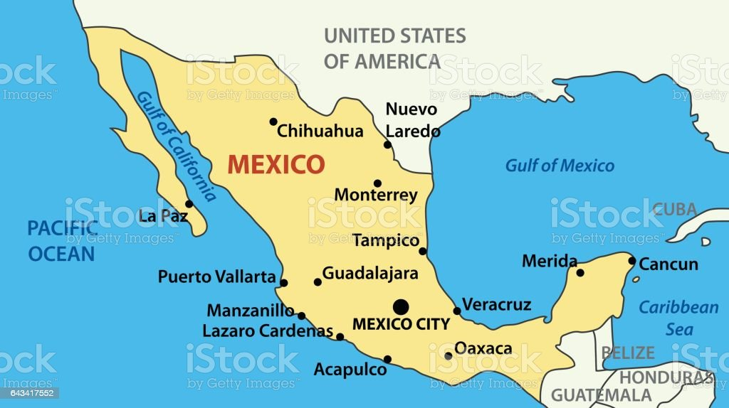 Vector Mexico Map Of United Mexican States Stock Vector Art More