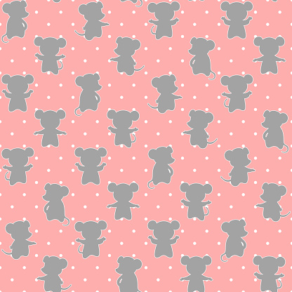 vector mice on dotted repetitive background. color animals. baby seamless pattern. fabric swatch. wrapping paper. continuous print. design element for home decor, apparel, phone case, textile, cloth