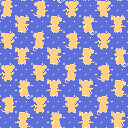 vector mice on polka dot repetitive background. color animals. baby seamless pattern. fabric swatch. wrapping paper. continuous print. design element for home decor, apparel, phone case, textile