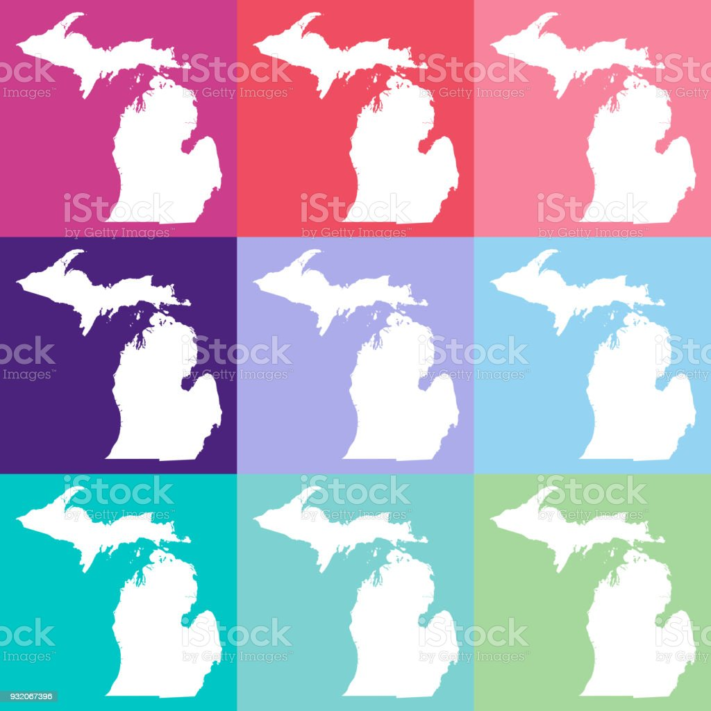Michigan On Usa Map.Vector Michigan Usa Map In Cool Colors Stock Vector Art More