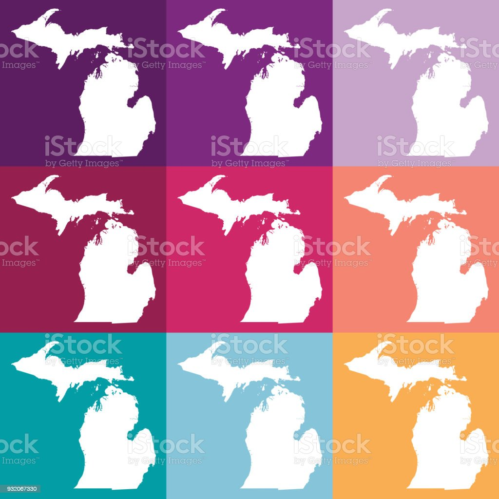 Michigan On Usa Map.Vector Michigan Usa Map In Muted Colors Stock Vector Art More