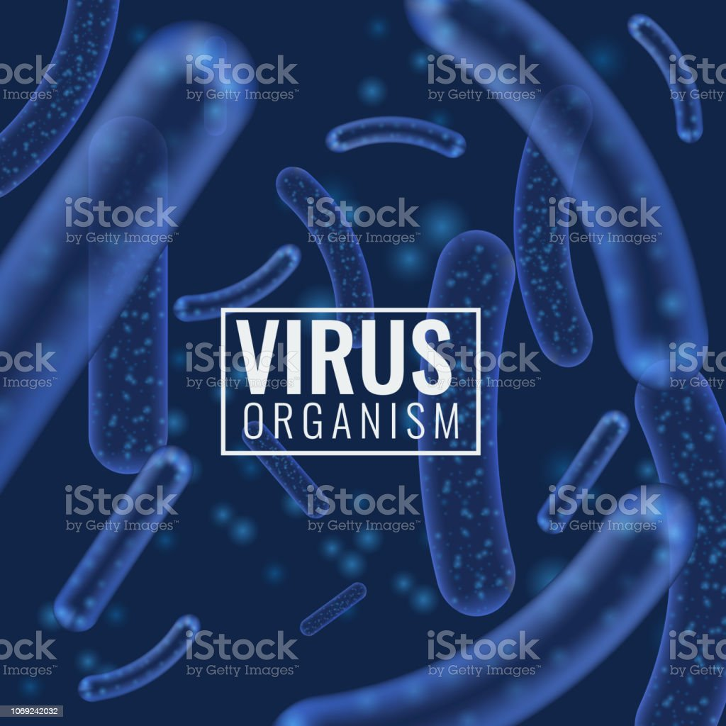 Vector Micro bacterium or virus organisms. Microscopic lactobacillus or acidophilus organism abstract background with bokeh blur defocused elements. vector art illustration