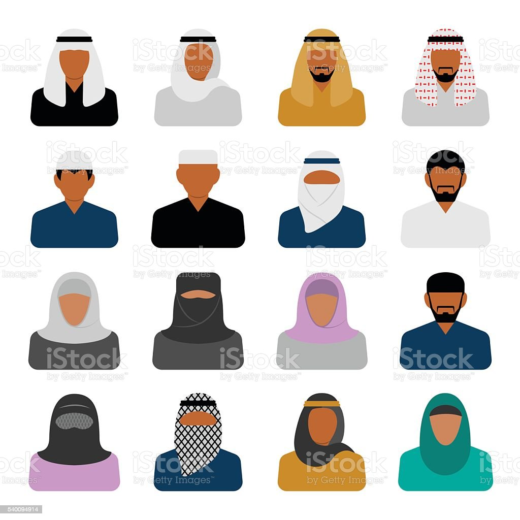 Vector Middle Eastern people icons in flat style vector art illustration