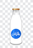 Transparent milk bottle illustration in vector,