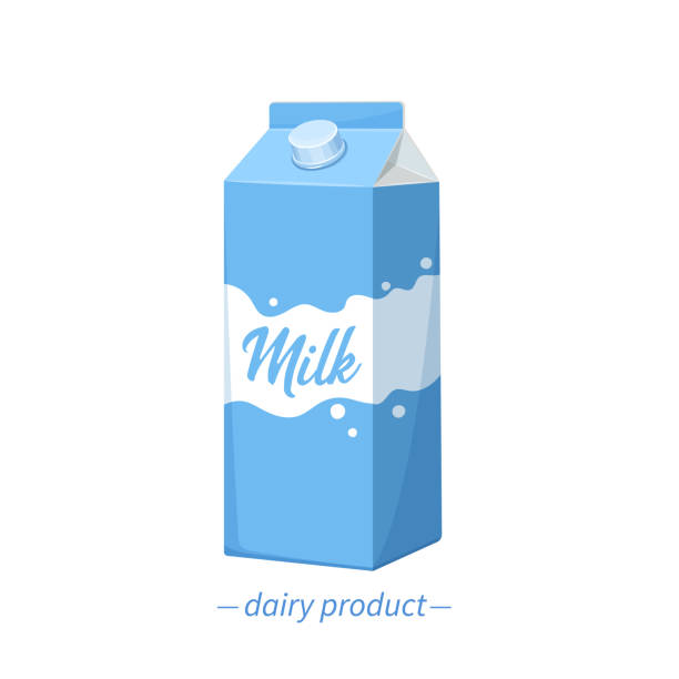 vector milk carton icon. - karton zbiornik stock illustrations