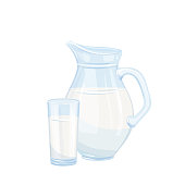 Vector milk jug and glass. Illustration of the breakfast concept for food design, milk product.