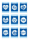 Vector milk product cards. Milk, yogurt, cream, cheese icons and splashes with sample text. Dairy product icons collection for grocery, agriculture store, packaging and advertising