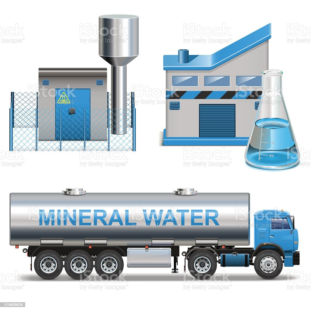 Vector Mineral Waters Production vector art illustration