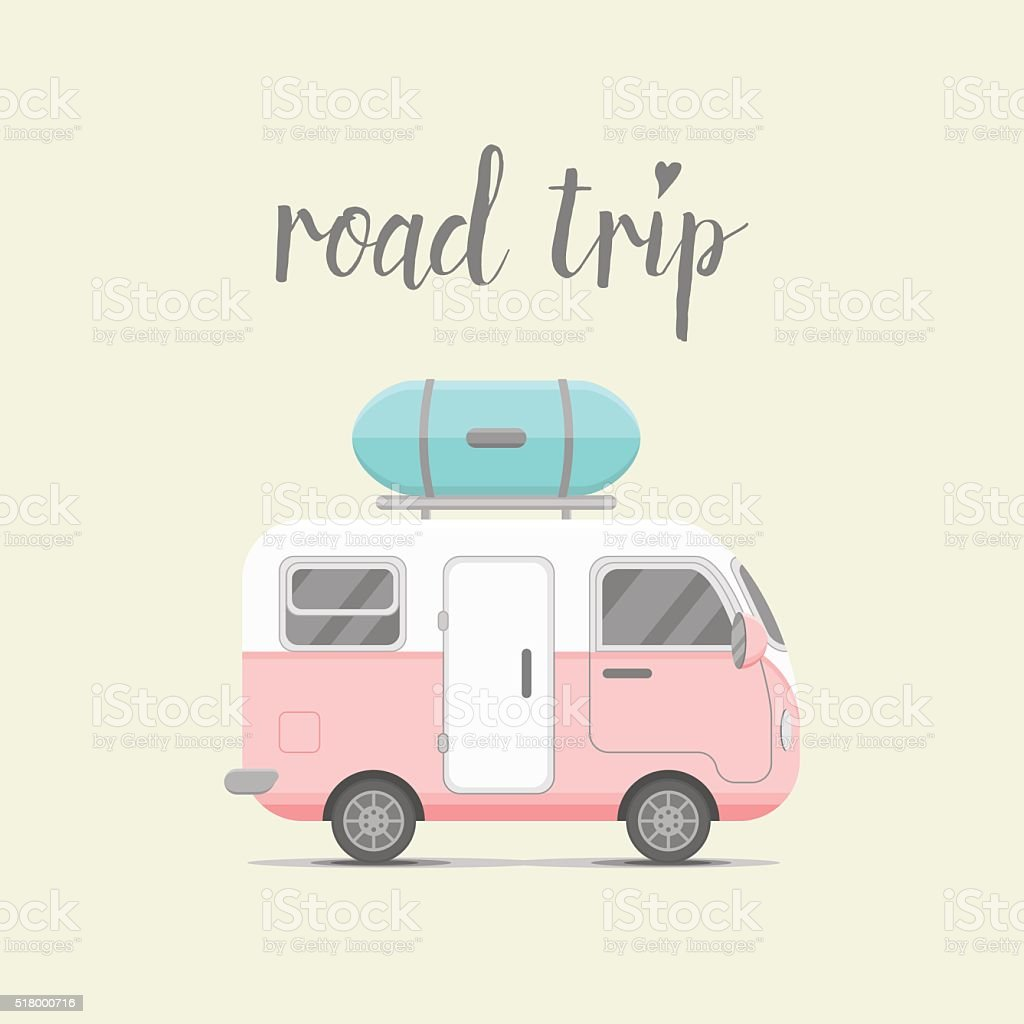 Vector de Mini caravana tráiler con caja de equipaje - ilustración de arte vectorial