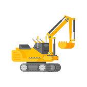Vector mini excavator in half isometric flat style