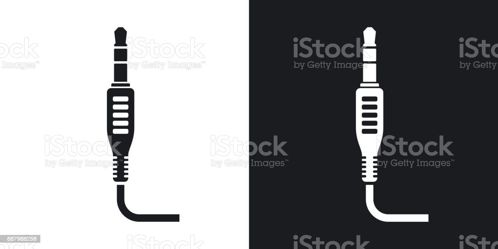 Vector mini jack plug icon. Two-tone version vector art illustration