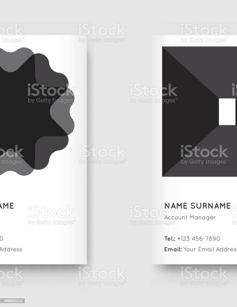 Set De Cartes Visite Verticales Tendance Graphique Vector Minime Noir Et Blanc