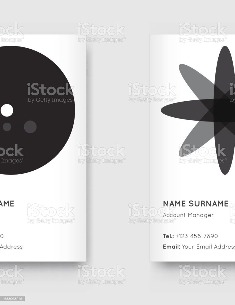 Vector Minimal Black And White Graphic Trendy Vertical Business Cards Set Royalty Free