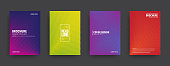 Vector Minimal Brochure and Cover Templates with Geometric Halftone Colorful Gradients. Conceptual Minimalist Abstract Line Art Design