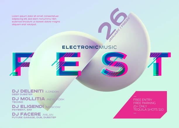 vektor minimal dj poster. elektronische musik cover für musikfestival oder club party flyer. lebendige hintergrund mit futuristischen 3d-form. kreative minimalistische vorlage. horizontale ausrichtung. neon-farben. - edm stock-grafiken, -clipart, -cartoons und -symbole