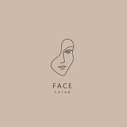 Vector minimal face, linear artistic icon. Social net, emblem for beauty studio and cosmetics - female portrait, beautiful woman's face - badge for make up artist, fashion. T-shirt print