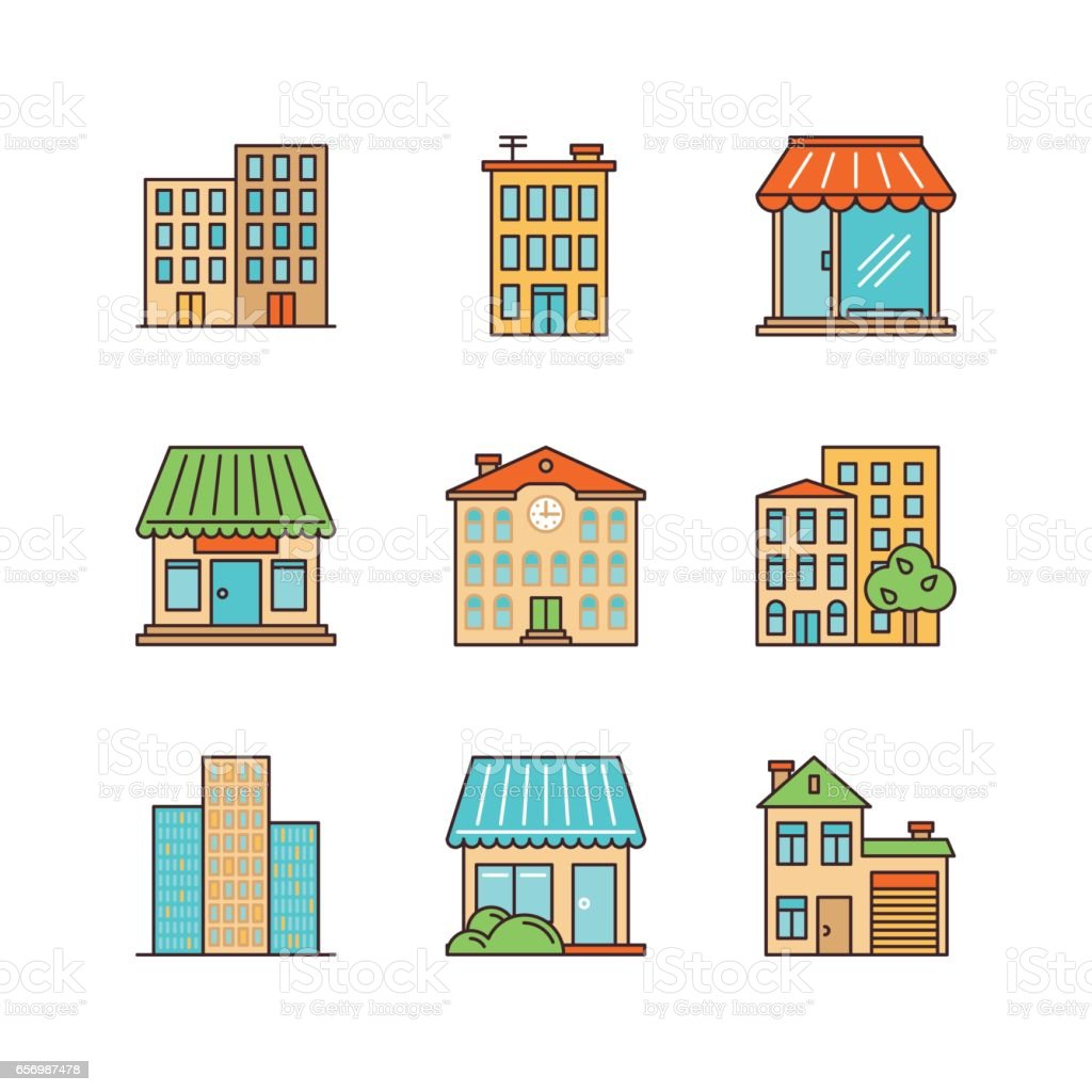 Vector minimal lineart building iconset. Skyscrapper, shop, store, school, townhouse. vector art illustration