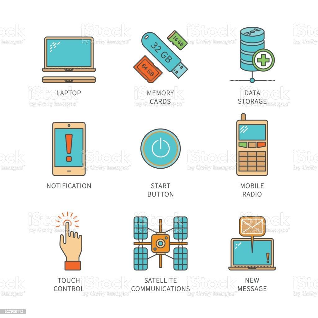 Vector minimal lineart flat electronics icons set vector art illustration