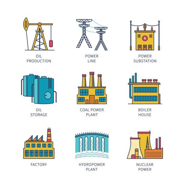 Vector minimal lineart flat industrial icon set Vector minimal lineart flat industrial icon set transformer stock illustrations