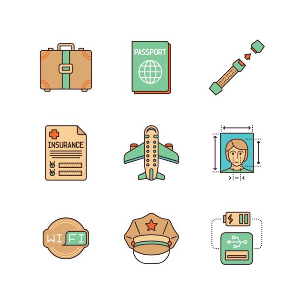vector minimal lineart flat travel iconset: suitcase, passport, seat belt, insurance, airplane, photo, wifi, police, usb plug, - airplane seat stock illustrations