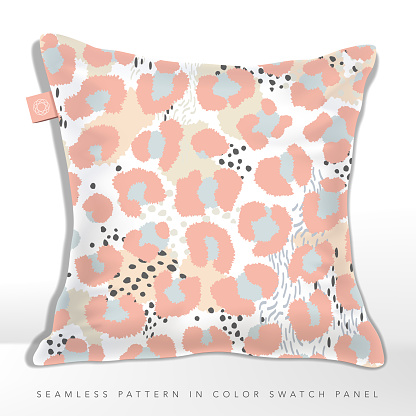 Vector Minimal Pastel Leopard and Abstract Seamless Pattern, Beige, Pink and Light Blue.