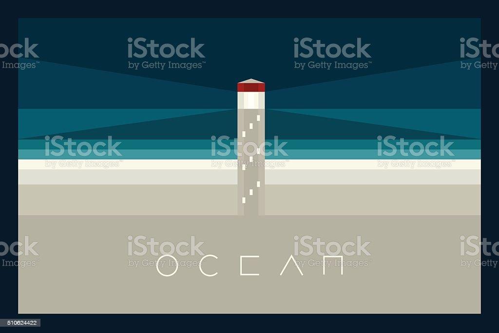 Vector Minimal Poster: Ocean vector art illustration