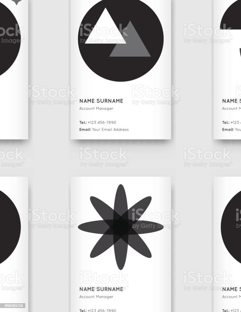 Vector Minimal Propaedeutics Black And White Graphic Trendy Vertical Business Cards Set Royalty Free