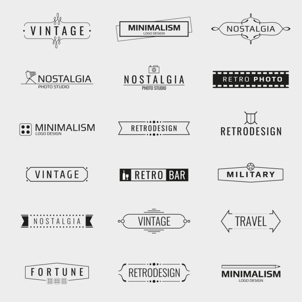 vector minimal vintage logo templates - retro and vintage frames stock illustrations, clip art, cartoons, & icons