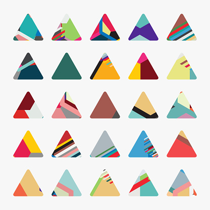 Vector minimalism colors striped triangle pattern button icon collection for design
