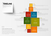 Vector Minimalist colorful vertical timeline Infographic template with square blocks