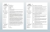 Vector illustration of a minimalist cover letter and single-page resume/CV template on a white background. All text has been converted to paths to avoid font conflicts.