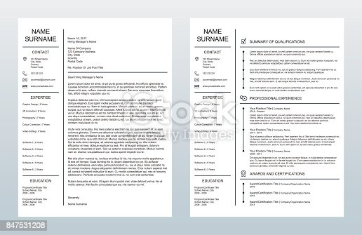 vector minimalist creative cover letter and one page resumecv template on white background stock