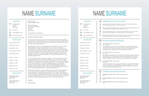 vector minimalist creative cover letter and one page resume/cv template on white background - resume templates stock illustrations