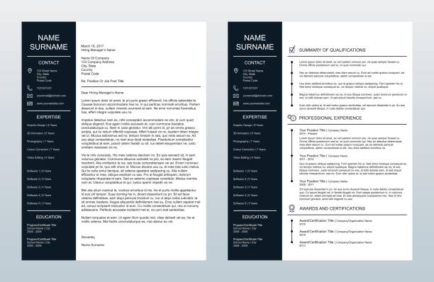Vector Minimalist Creative Cover Letter And One Page Resume/CV Template Vector illustration of a minimalist cover letter and single-page resume/CV template. All text has been converted to paths to avoid font conflicts. resume templates stock illustrations