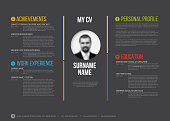 Vector minimalist cv / resume template - minimalistic colorful version with photo in the middle - dark template version
