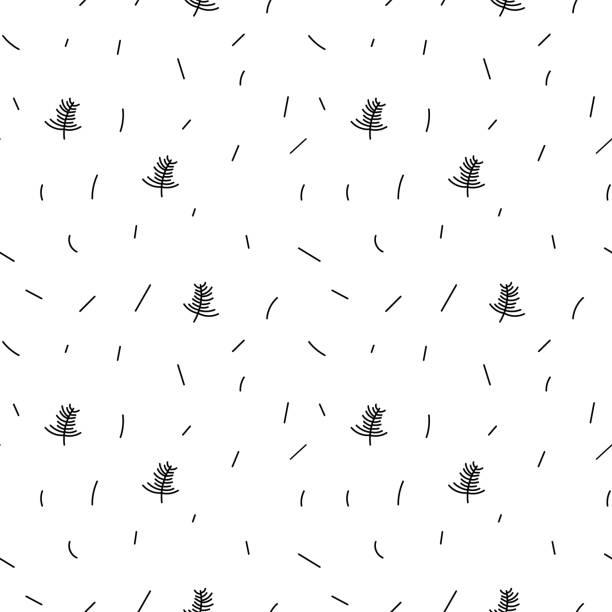 ilustrações de stock, clip art, desenhos animados e ícones de vector minimalist monoline black and white scandinavian seamless pattern new year christmas tree. doodle xmas background for winter holiday textile - hygge