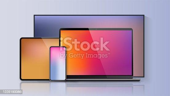 Vector minimalistic 3d illustration set device. Realistic smartphone laptop, tablet, tv. Soft color mesh gradient background