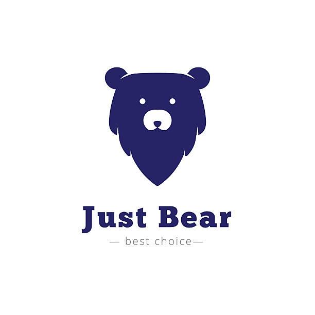 Vector minimalistic bear head icon vector art illustration