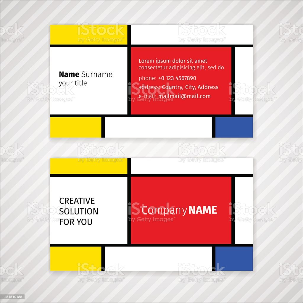 Vector minimalistic business card template vector art illustration