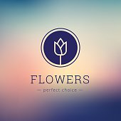 Vector minimalistic flower shop sign. Tulip icon on blurred background
