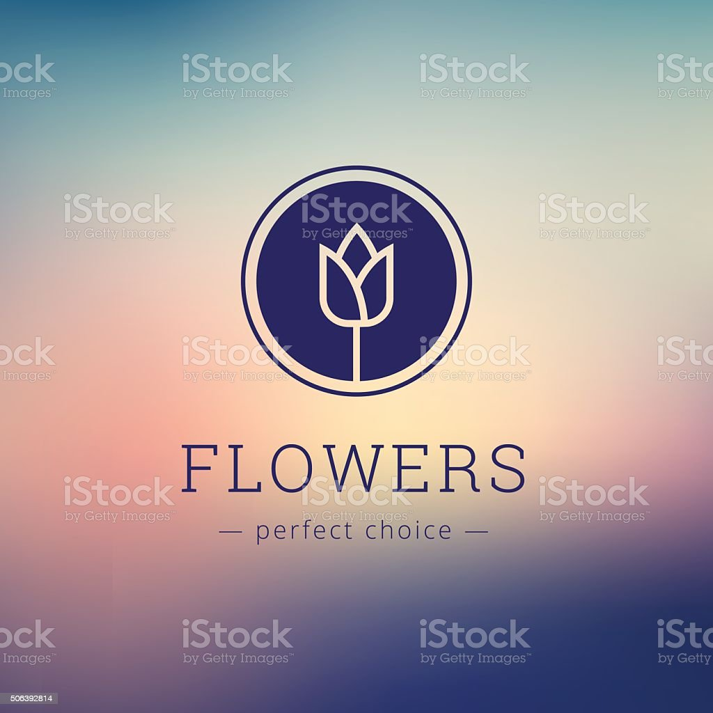 Vector minimalistic flower shop sign. Tulip icon on blurred background vector art illustration