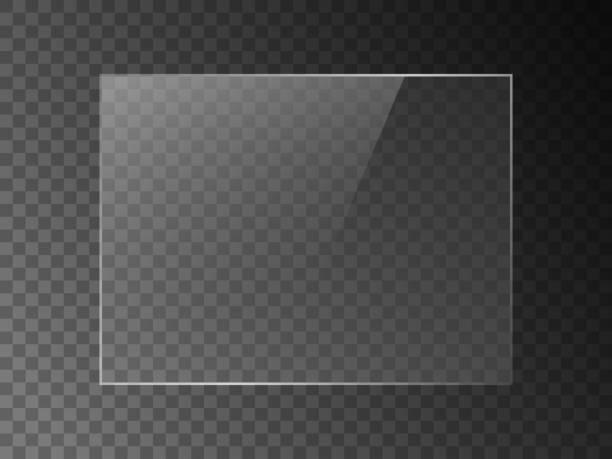 bildbanksillustrationer, clip art samt tecknat material och ikoner med vektor spegel reflektion effekt konsistens för glas, plast eller akryl fönster. png rektangel form 4 x 3 glans, glans, ljus, bländning, klar platta. - skinande