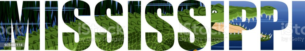 vector Mississippi - American state word with crocodile alligator and wetland river vector art illustration