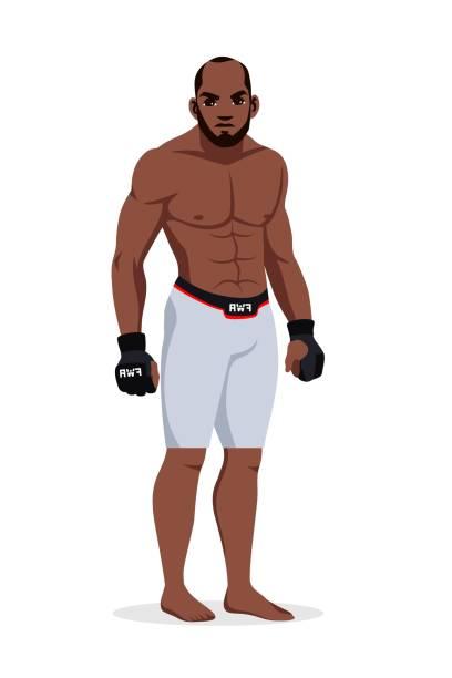 stockillustraties, clipart, cartoons en iconen met vector gemengde krijgskunstenmengelaar die sportswear draagt die zich op witte achtergrond bevindt. afro-amerikaanse sportman. bokskampioen vechter karakter. - kickboksen